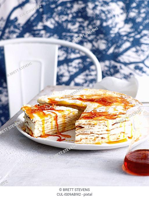 Gran marnier layer cake made with crepes and mascarpone