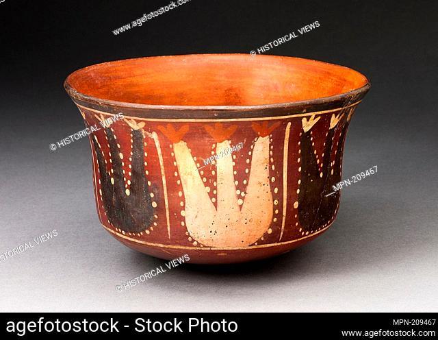 Bowl Depicting Abstract Plants, Probably Cactus - 180 B.C./A.D. 500 - Nazca South coast, Peru - Artist: Nazca, Origin: Peruvian South Coast, Date: 180 BC–500 AD