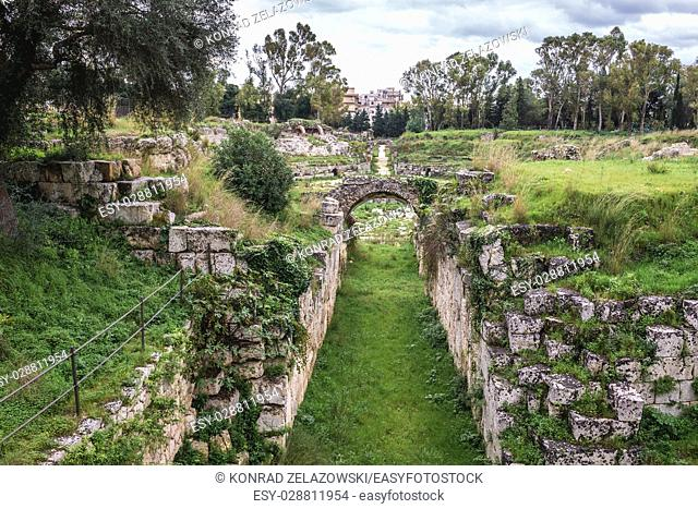 Ruins of passage of Roman Amphitheater located in Neapolis Archaeological Park in Syracuse city, southeast corner of the island of Sicily, Italy