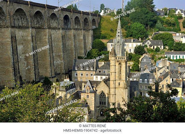 France, Finistere, Morlaix, Sainte Melaine church and viaduct