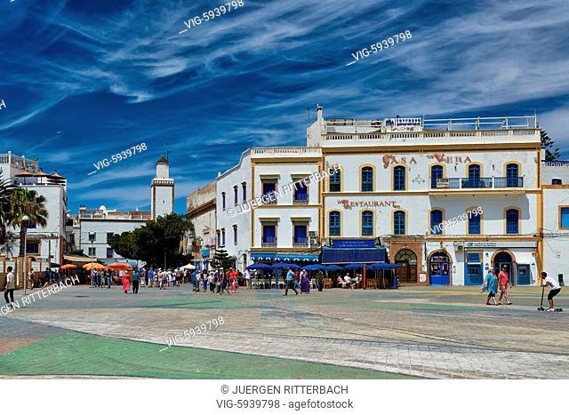 MOROCCO, ESSAOUIRA, 27.05.2016, Moulay El Hassan square in medina of Essaouira, UNESCO world heritage site, Morocco, Africa - Essaouira, Morocco, 27/05/2016