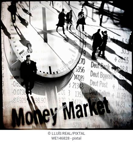 Money Market. digital composition of a group of unrecognizable executives walking on an economic chart with a clock. Money Market