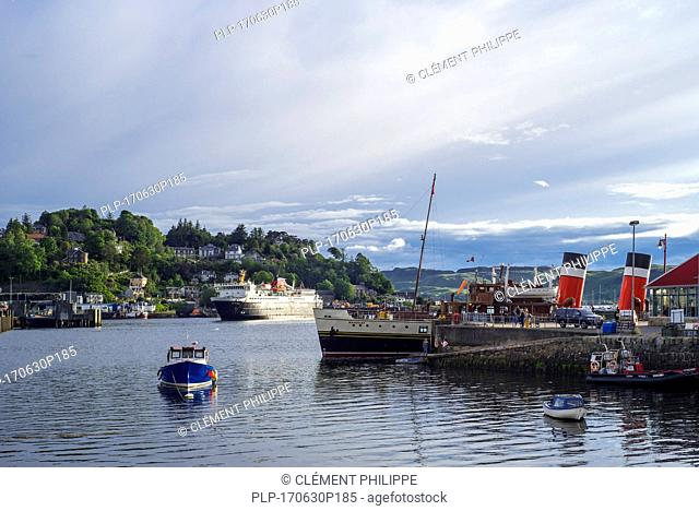 Isle of Mull ferry boat from Caledonian MacBrayne and PS Waverley, last seagoing paddle steamer in the port of Oban, Argyll and Bute, Scotland