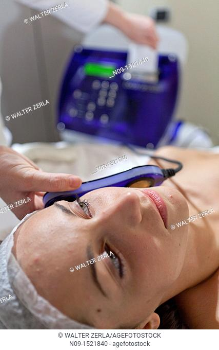 Facial treatment in a beauty center
