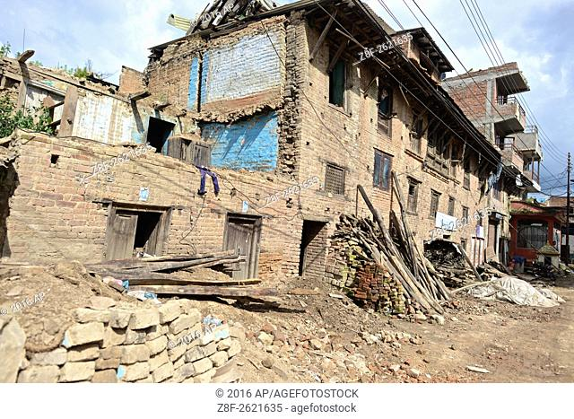 Earthquake aftermath in the outskirts of Kathmandu
