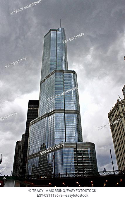 Trump Tower under ominous clouds in Chicago, Illinois, USA