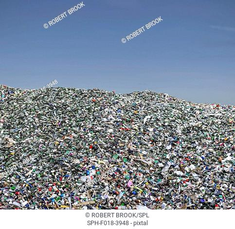 Pile of plastic waste, mainly small items, for recycling