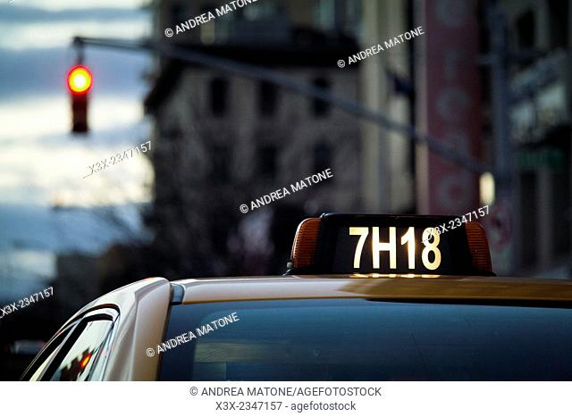 Taxi stopped at a red light. Manhattan. New York city. USA