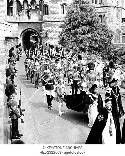 Queen Elizabeth II (b1926) and Prince Philip (b1921) during the Garter Ceremony at Windsor Castle, 1963
