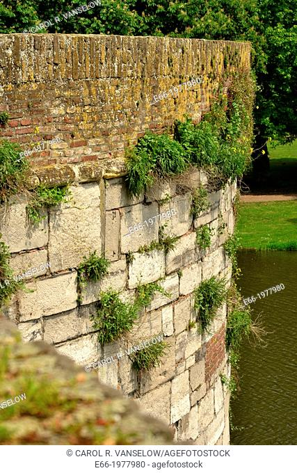 Detail of exterior of one of the parapets on the old city wall in Maastricht