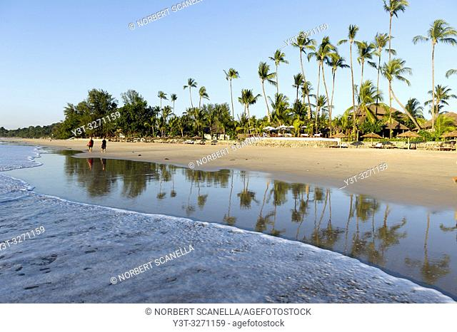 Myanmar (ex Birmanie). Ngapali. Arakan state. Bengal Golf Course. Beach lined with coconut trees