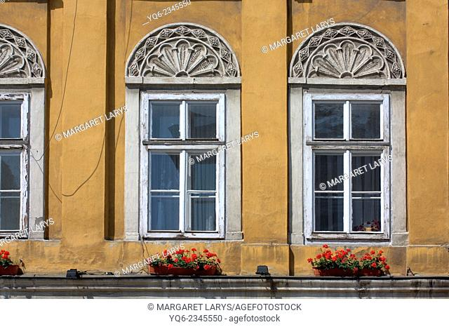 Old windows in the old historical building