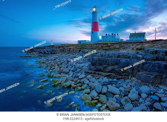Twilight at the Portland Bill Lighthouse, Dorset, England