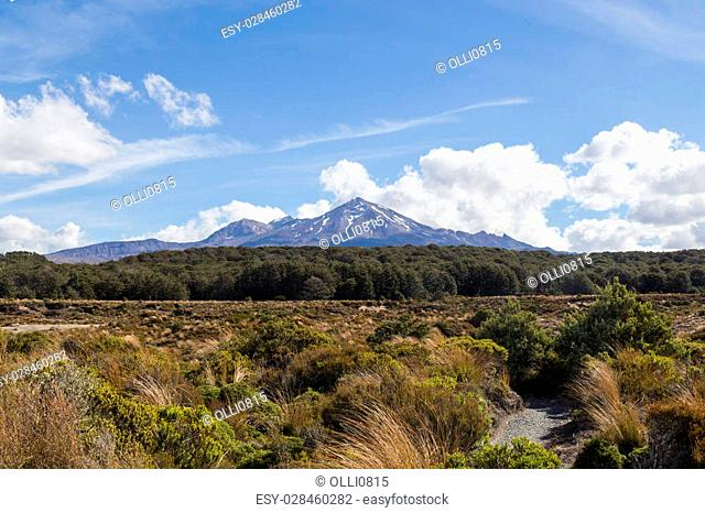 View of Mount Ruapehu in in New Zealand as seen from the Tongariro Northern Circuit