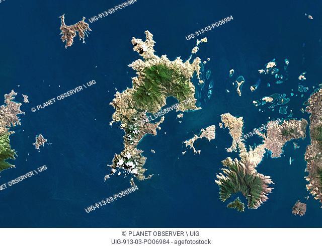 Satellite view of Komodo Island, Indonesia. The image shows the whole Komodo National Park that includes the three islands Komodo, Padar and Rinca