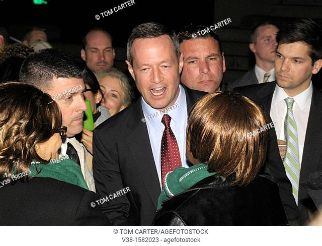 The governor of Maryland Martin O'Malley is confronted by a union protester inAnnapolis, Maryland