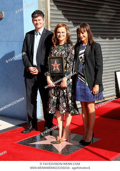 Amy Poehler honored with a star on the Hollywood Walk Of Fame Featuring: Mike Schur, Amy Poehler, Rashida Jones Where: Hollywood, California