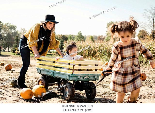 Mother and daughters playing together in pumpkin patch, young girl being pulled along in cart