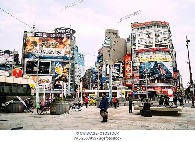 Taipei, Taiwan - The view at Ximen business district, there are many local people holding flags and asking for Taiwan independence
