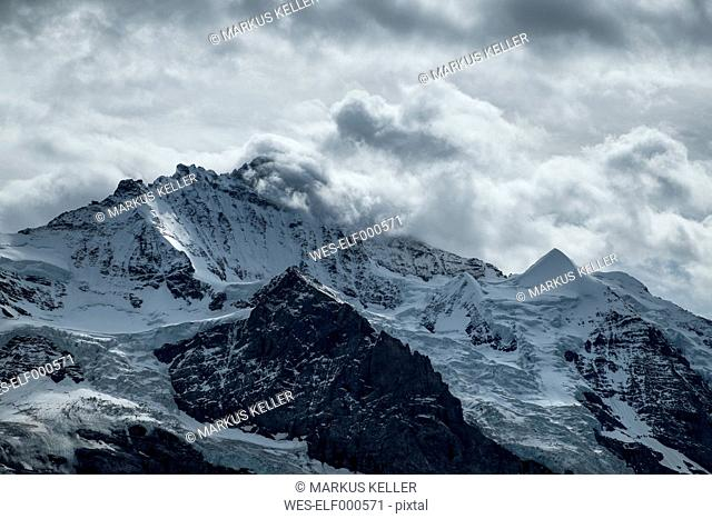 Switzerland, Berner Oberland, Jungfrau, below Schwarzmoench and Silberhorn