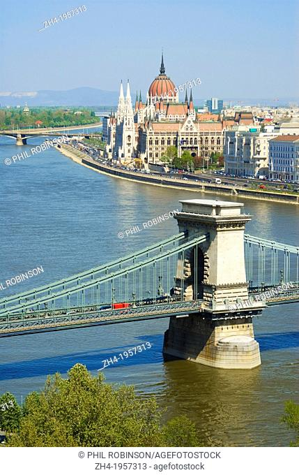 Budapest, Hungary. View over River Danube to Parliament and Chain Bridge from Castle Hill (Vargegy)
