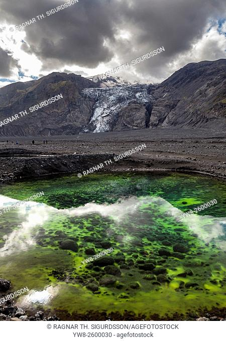 Algae in ponds by Gigjokull- outlet glacier from Eyjafjallajokull Ice Cap. Months after the Eyjafjallajokull eruption the landscape is transformed