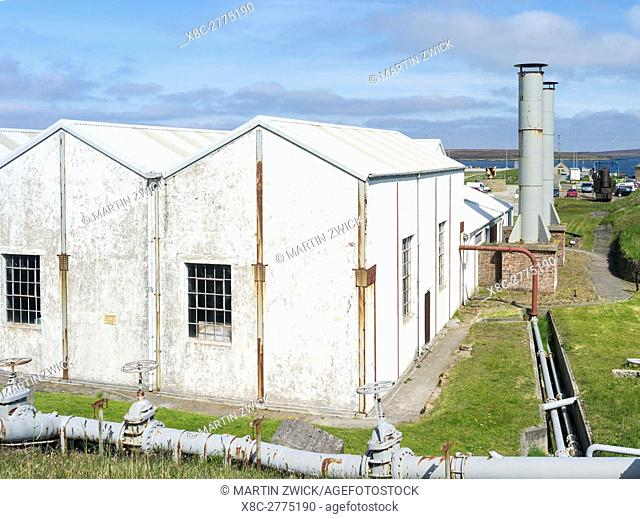 The island of Hoy, Orkney Islands, Scapa Flow Visitor Center and Museum near Lyness. The pump station. The museum is located inside the old pump station and...