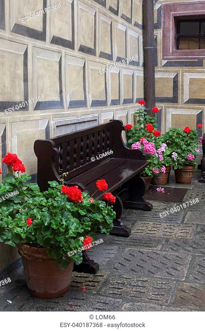 wooden bench and flowers in a pot