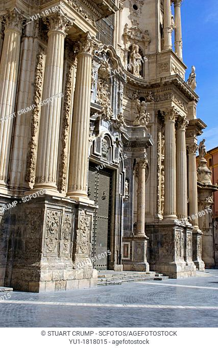 Ornate Door and entrance to The Cathedral Church of Saint Mary in Murcia, plaza del Cardinal Belluga, City of Murcia, Southeastern Spain, Europe