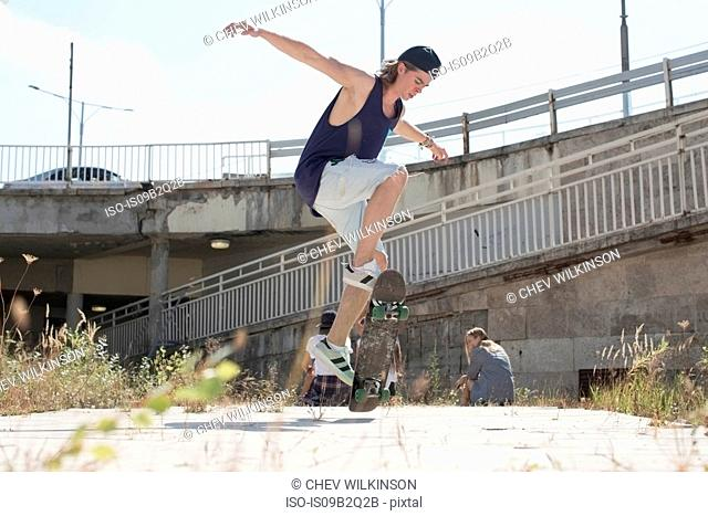 Skateboarder doing skateboarding tricks, Budapest, Hungary