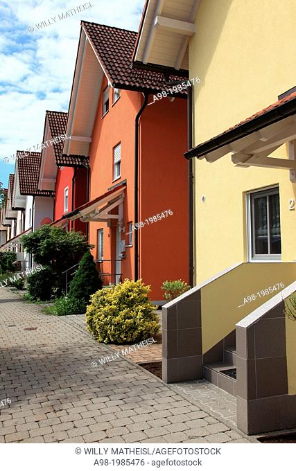 A row of new townhomes in Bavaria, Germany, Europe