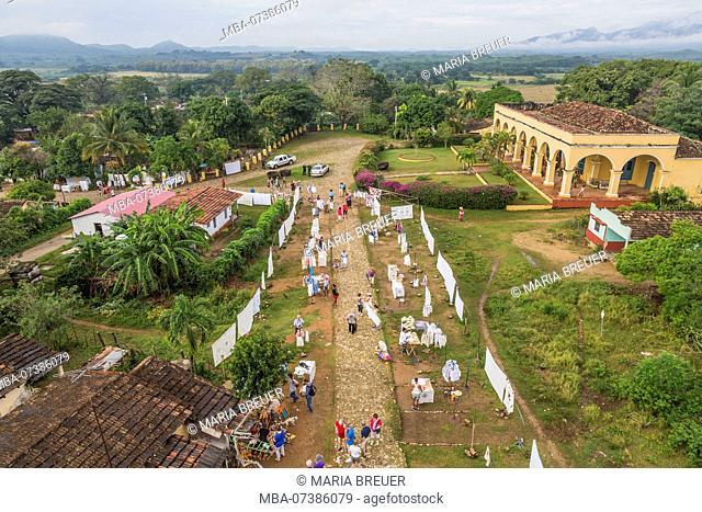 Hacienda Iznaga, Mansion of the Iznaga family, view from Torre de Iznaga, monument, former observation tower for the observation of slaves, sugar plantation