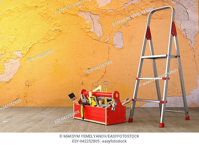 Home renovation and improvement concept. Ladder, toolbox with tools and old grunge wall in the room. 3d illustration