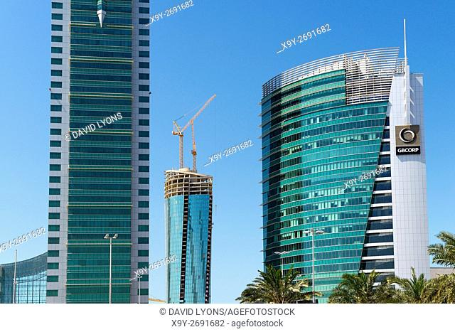 Bahrain Financial Harbour BFH development in Manama, the modern capital of Bahrain. Commercial East tower left and GB Corp right