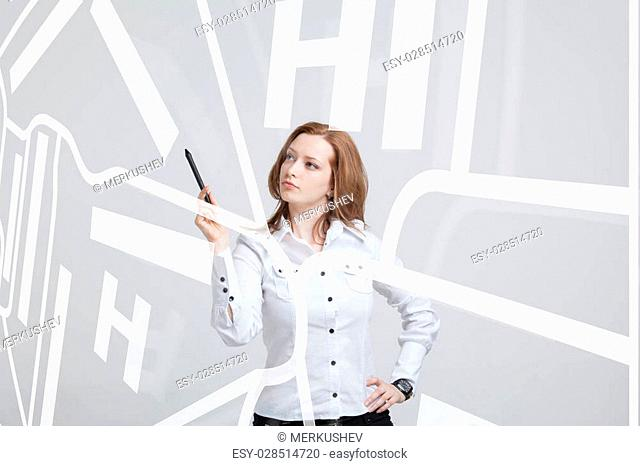 Future technology, navigation, location concept. Woman showing transparent screen with gps navigator map. Grey background