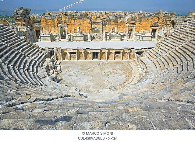Roman amphitheatre, elevated view, Hierapolis, Pamukkale, Anatolia, Turkey, Asia