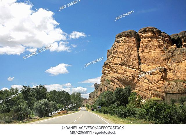 Cidacos valley road, La Rioja wine region, Spain, Europe