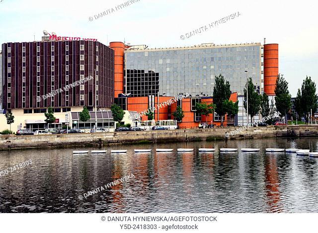 Building of CHCI - Centre Havrais de Commerce International, International Trade Centre in Le Havre, on left Hotel Mercure