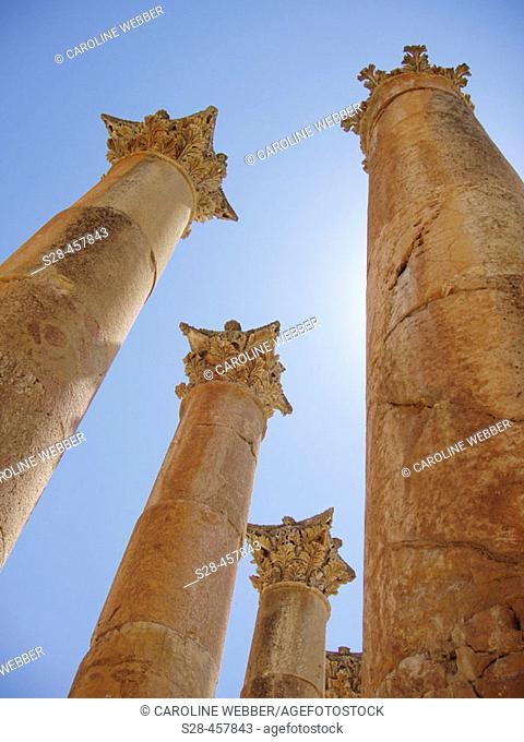 Columns at Temple of Artemis, City of Jerash, Jordan