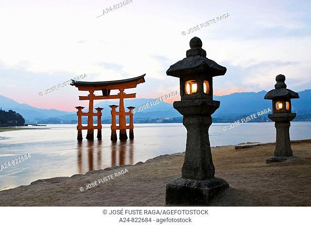 Tori gate, Itsukushima Shinto shrine, Miyajima island, Hiroshima province, Japan (October 2008)