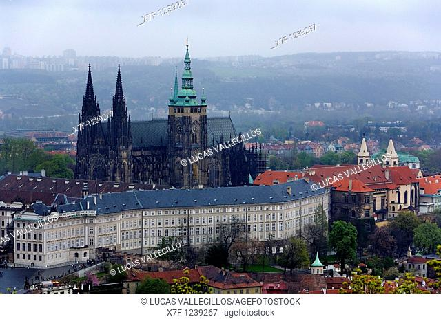 Vitus Cathedral and Prague Castle  Hradcany quarter Prague  Czech Republic