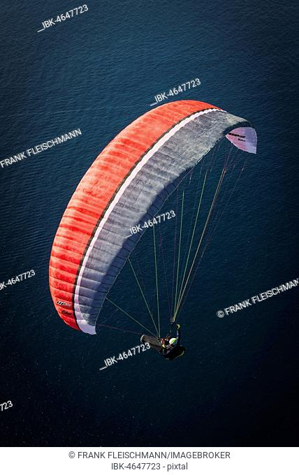 Paraglider over the Atlantic Ocean near La Caleta, aerial view, Tenerife, Atlantic Ocean, West Coast, Spain