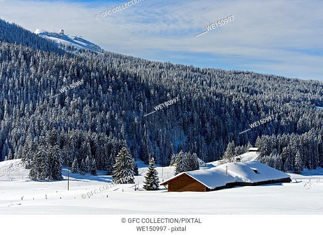 Winter landscape at Col de la Givrine with the peak La Dole in the Swiss Jura mountain range, Saint-Cergue, Vaud, Switzerland