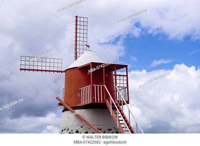 Portugal, Azores, Pico Island, Madalena, traditional windmill