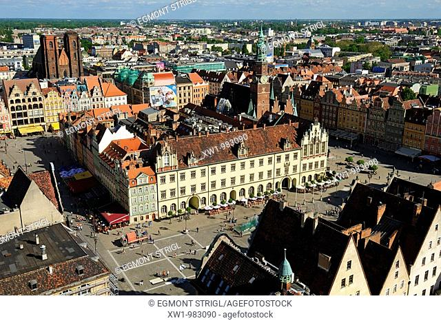 view over the city center of Wroclav, Lower Silesia, Poland, Eastern Europe