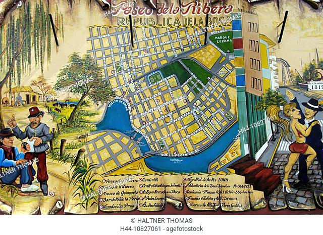 Argentina, South America, Buenos Aires, harbor quarter, La Boca, city map, information, tourism, map, card, plan, town