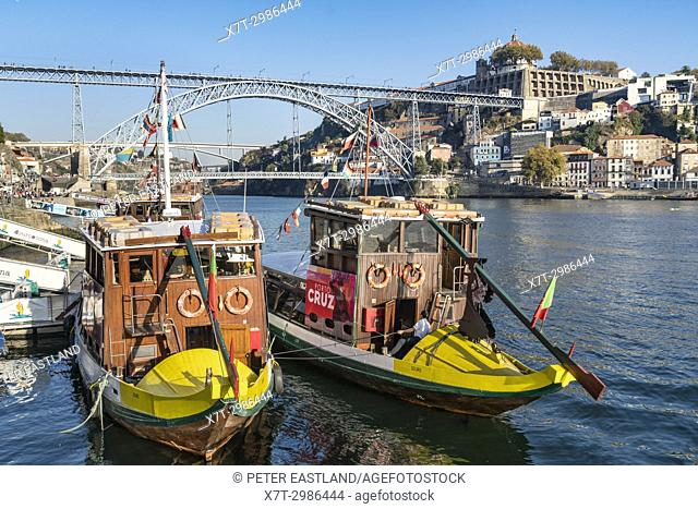 traditional Rabelo boats for Port wine now used for cruises. On the River Douro waterfront in the Ribeira district of Porto, Portugal