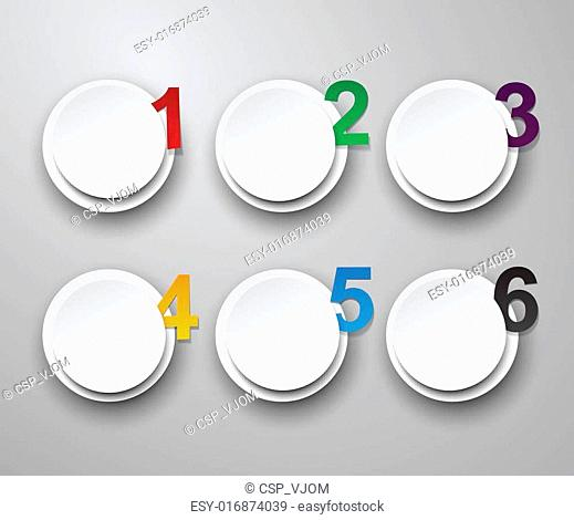 Set of numbered paper stickers