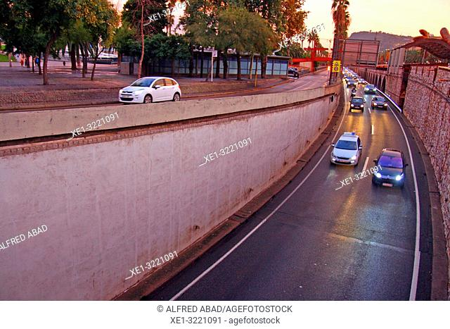road traffic of the Ronda del Litoral, Barcelona, Catalonia, Spain