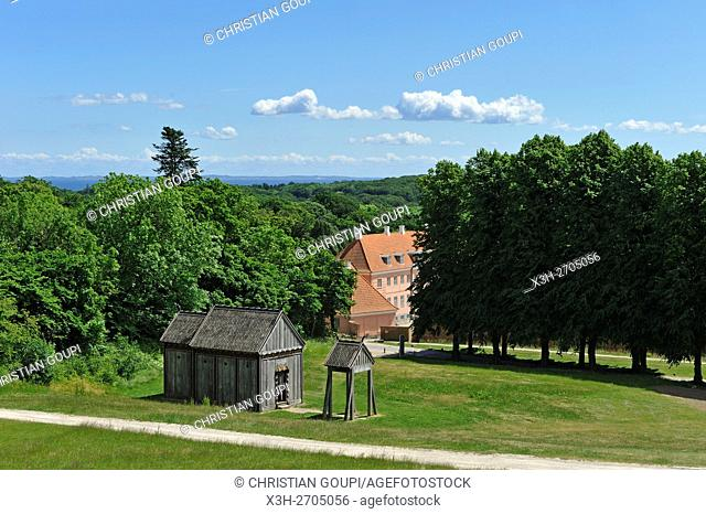 stave-church from the Viking Period and the Moesgaard Manor, historical building housing the museum administration and Aarhus University offices and student...
